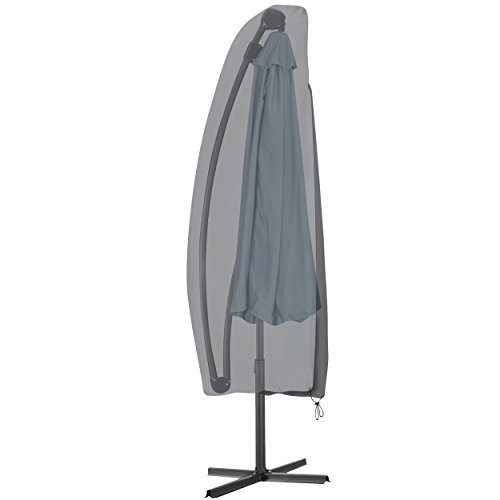 KROLLMANN Schutzhülle in Grau für Sonnenschirm aus Polyester, wasserabweisend, Abdeckung für Gartenmöbel, Schirmhülle Maße 190 cm x 42/70 cm (LxB) für Ampelschirm