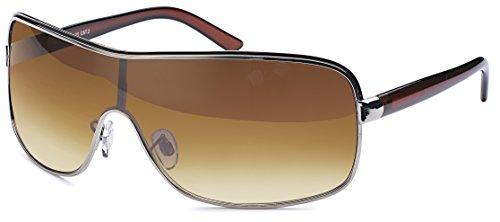 Designer Visor Sonnenbrille mit Monoscheibe und Verlaufsglas braun