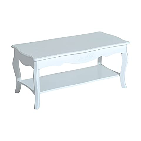 Homcom® Couchtisch Wohnzimmertisch Beistelltisch mit Ablage Holz Weiß 94x44x42cm