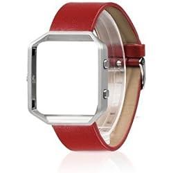 Band für Fitbit Blaze, Ersatzband für Wearlizer Smart Watch mit Metallrahmen, Echtlederarmband für Fitbit Blaze - Groß Rot