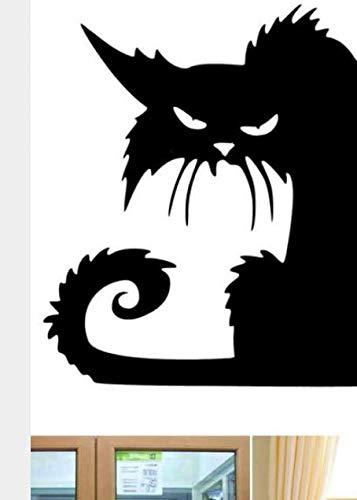 Bad Wandtattoowandaufkleber Der Schwarzen Katze, Flacher Karikaturfensterglasaufkleber Halloweens, Heißer Kinderausgangsdekorationsaufkleber 37 * 42 (Halloween Katze Heiße)