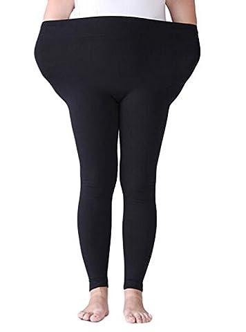 DD.UP Damen Modal Leicht Atmungsaktiv Übergröße Leggings Elastische Taille Hosen Black,Gr.XL-XL Plus