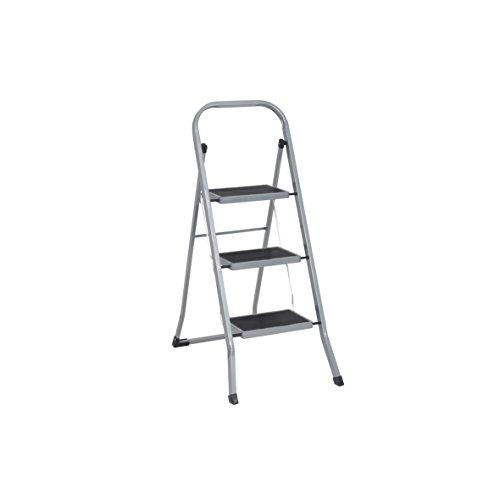 Trittleiter 3 Stufen Leiter Klapptritt Klappleiter Klapptreppe Tritt Haushaltstritt Stehleiter Sprossenleiter klappbar faltbar bis 150 kg (3 Stufen, silber/schwarz)