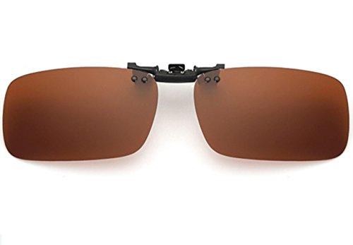 UK1stChoice-Zone Polarisierte Unisex Sonnenbrillen Klipp auf Sonnenbrille Gläsern Brille Sun-ClipON1302 (Braun) (Nur geeignet für die Gläser mit Brücke Dicke weniger als 2,5 mm)