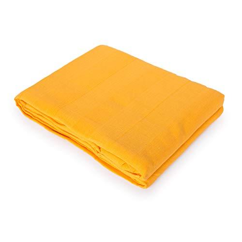 Copriletto plaid multifunzione per divano o letto, in cotone 100%, colore verde 130x170 ocra