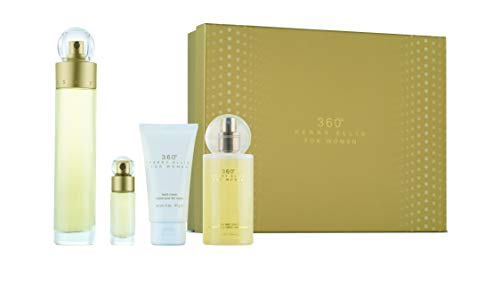 perry ellis 360 by Perry Ellis Gift Set - 3.4 oz Eau De Toilette Spray + 4 oz Body Mist + 2 oz Hand Cream + .25 Mini EDT Spray / - (Women) -