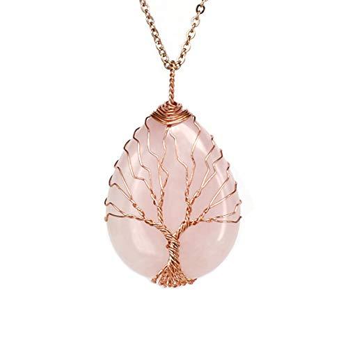 ULGAI Collar de Cristal Envuelto en el árbol de la Vida, Colgante de Gema Natural con lágrima Natural, Collar curativo con 4 Opciones (Amatista/Turquesa/Cuarzo Rosa/ópalo) (Cuarzo Rosa)