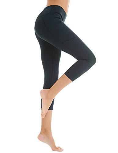 COOLOMG Damen Shorts Leggings Caprihose Yoga Sport Training Fitness mit Taschen ,Schwarz (capri),M - Schwarz Training Capris