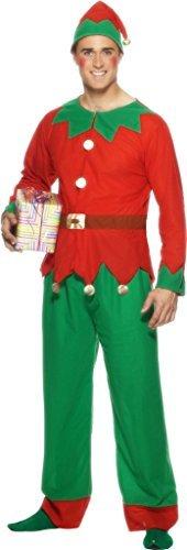 (Herren Weihnachten Elfen Kostüm Weihnachtsmann Helfer Outfit Größe XL Passt Brustumfang 46 zoll 121,9 cm)