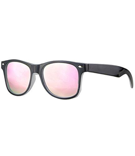 Caripe Kinder Mädchen Jungen Sonnenbrille Retro Design verspiegelt + getönt - barna (One Size, schwarz-weiß - neon-rosa verspiegelt-two)