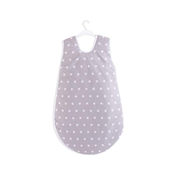 Saco de dormir para bebé mini saco de dormir de verano – Saco de dormir para bebé recién nacido durante todo el año 80 cm (110 cm de largo, gris con estrellas blancas)