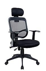 Bürostuhl in Schwarz Duhome 0391 Chefsessel Ergonomisch Netzstoff Wippfunktion Schreibtischstuhl Office Chair Drehstuhl Buerostuhl mit Kopfstütze