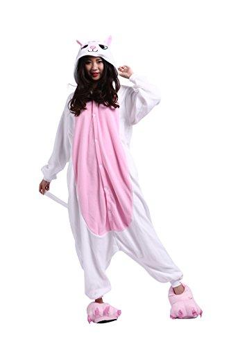 YUWELL Unisex Kigurumi Tier Cartoon Cosplay Fasching Pyjama Kostüm Erwachsene, Weiße Katze S (Height:150-160cm) (Miss Match Kostüm)
