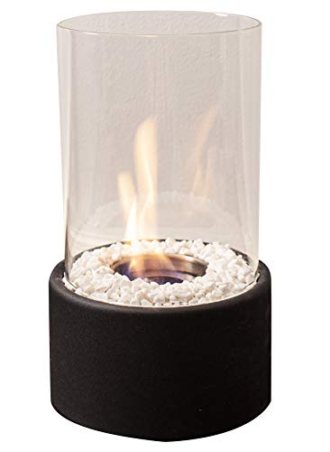 Edler Bio-Ethanol Tischkamin mit Löschstempel und Dekosteinen, schönes Flammenspiel für Innen und Außen, Feuerschale Dekofeuer Tischfeuer Glasfeuer Zimmerkamin Feuerschale Glas Metall Indoor Ourtdoor