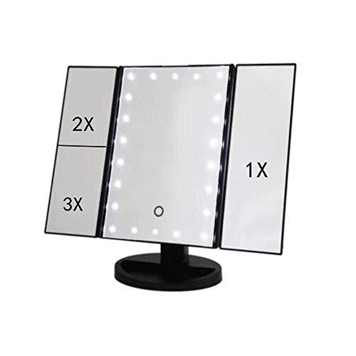 Espejo Maquillaje con Luz LED, Interruptor Táctil de Brillo Ajustable, Espejo de Viaje Iluminado Portátil...