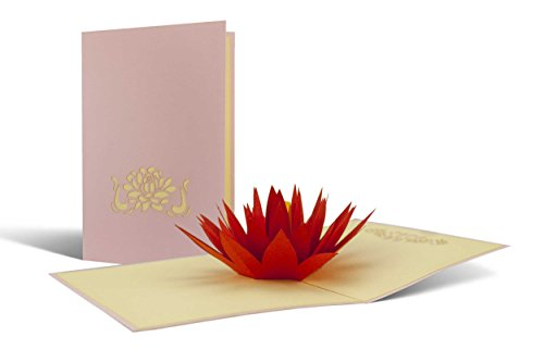 Geburtstagskarte Wellness, Seerose aus Papier als Pop-Up-Karte, schönes Geschenk und gut als Gutschein für Yoga oder eine Meditations-Reise geeignet, hochwertig, edel, F03