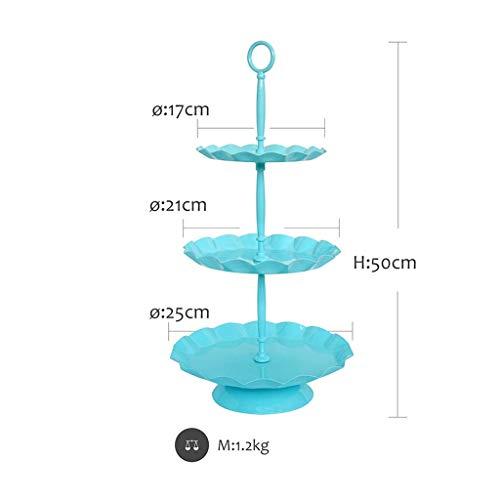 WEIFAN-Support tray Sky Blue Cake Stand Cake Pan Runde Ausstellungsstand Dessert Kekse Candy Muffin Stand Golden Hochzeit Dekoration (dreistufig) -