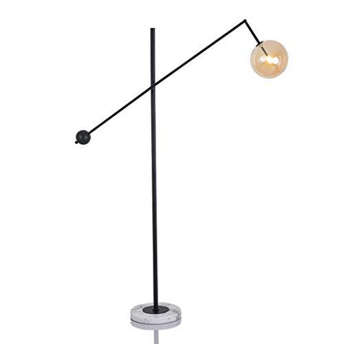 SMQ Stehlampe Arbeitszimmer Schlafzimmer Nachttischlampe Nordic Designer Marmor Stehleuchte Einfache Stehleuchte (Color : Black) - Bernstein Metall-stehlampe