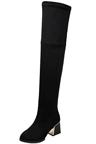 BIGTREE Overknee Stiefel Damen Casual Herbst Winter Blockabsatz Bequem über Knie Stiefel von Schwarz 38 - Warm Kniehohe Stiefel Schwarze Wildleder