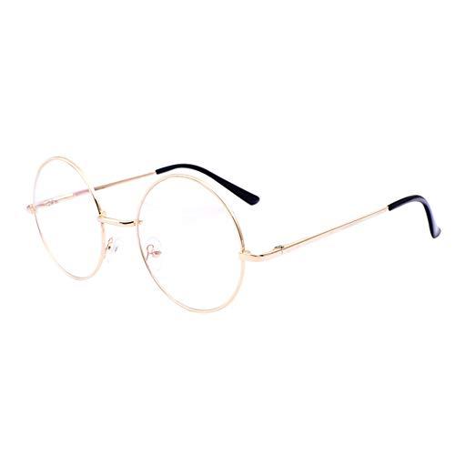 Deylaying Prinz Spiegeln Vintage Brille - Metall Runden Rahmen Optisch Gläser Anti Blau Licht Goggle Spiel TV Eyeglasses für Männer Frau (Gold)