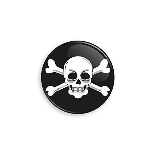 Werbewas Halloween Buttons ALS Anstecker mit Nadel oder Magnet für Zuhause oder ALS Geschenk und Mitgebsel - Motiv Totenkopf / Skull - 38mm mit Nadelverschluss an der Rückseite -