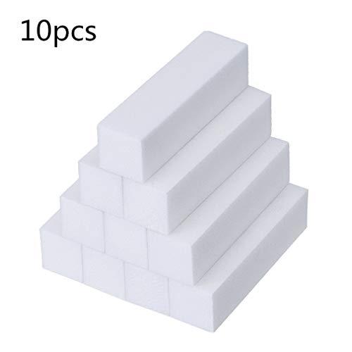 10 Stück Weiß Schleifblöcke Nagel Pufferblock 4-Wege Nagel Puffer Nagel Shiner Schwamm...