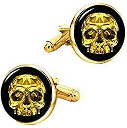 Kooer Vintage Gold Skull Cufflinks Handmade Custom Personalized Skull Cuff Links Wedding Jewelry Gift