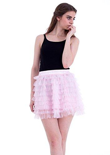 Honeystore Damen's Kurz Tutu Tüllrock Petticoat Kleid Minirock Tütü Ballerina Tüll Rock Reifrock One Size Rosa