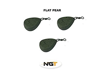 x 3 flat pear carp fishing weights 2.0oz carp/coarse fishing by ngt