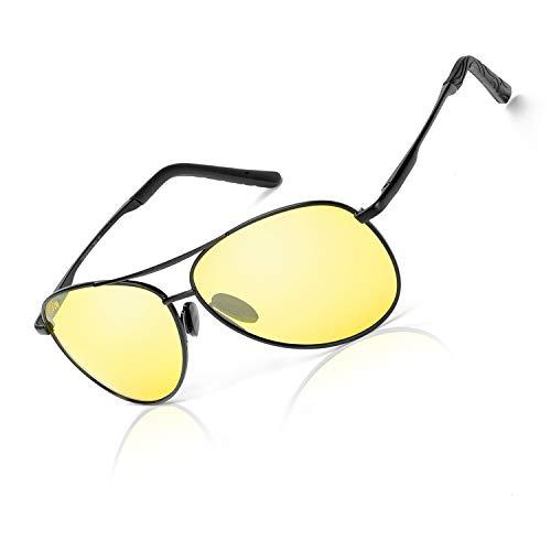 66adb6514d Lunettes classiques Aviator HD Vision pour conduite de nuit pour homme,  femme, objectif jaune