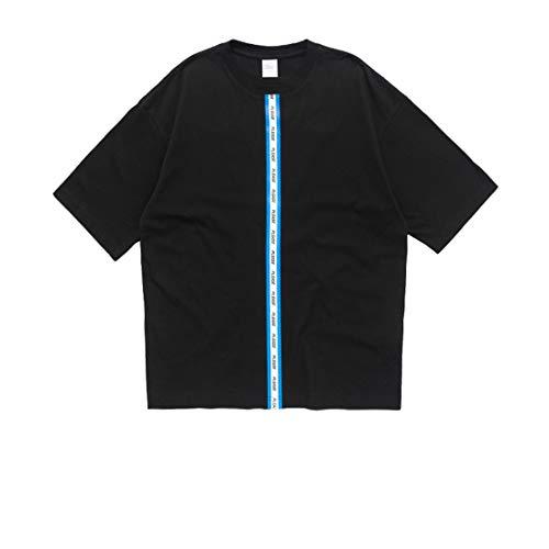 Baumwolle Gewebt Shirt (T-Shirts Schulterbedrucktes Baumwoll - gewebtes Herren - T - Shirt mit Frotteeboden für Herren High Street Lässig Bequem (Farbe : Schwarz, Size : M))