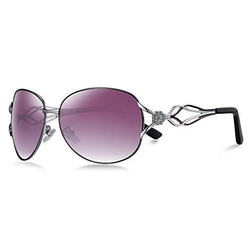 WHCREAT Moderne Mode Polarisierte Sonnenbrille für Damen Farbverläufe Brillen (Violett Linse)