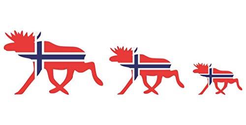Samunshi® Elchkarawane Aufkleber Set Elch Karawane Elchhirsche Norwegen Norge Flagge Nationalfarben in 8 Größen (50x13,8cm)
