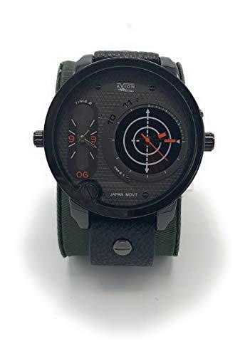 Avion orologio uomo da polso con quadrante grande digitale e analogico aeronautica militare tattico (arancio)