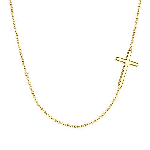 EVER FAITH Damen Halskette 925 Sterling Silber Täglich Braut klassische religiöse Kreuz Anhänger Kette Hals Schmuck Gold-Ton -