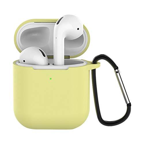FENG Silikon schutzhülle Case hülle AirPods Tasche Silikonhülle mit Sportgurt Zubehör Karabiner (Gelb)