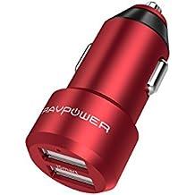 Extra-Mini Alluminio Caricabatterie Auto RAVPower a 2 Porte, 24W / 4.8A, Caricatore USB Universale con Tecnologia iSmart per iPhone, iPad, Smartphone Samsung Galaxy, Huawei, LG, Nexus, TomTom, ecc. –Rosso