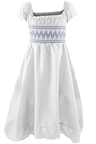 GILLSONZ Neu604-1PvDa Mädchen Kinder Sommer Freizeit Kleid (98/104, Weiß) (Mädchen Kleid Weiß)