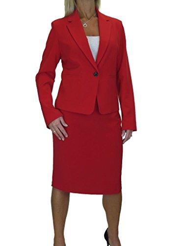 ICE Damen Anzug mit Rock - für Büroereignis - Designer-Look Rot 38-50 (40) (Anzug Damen Neue Rock)