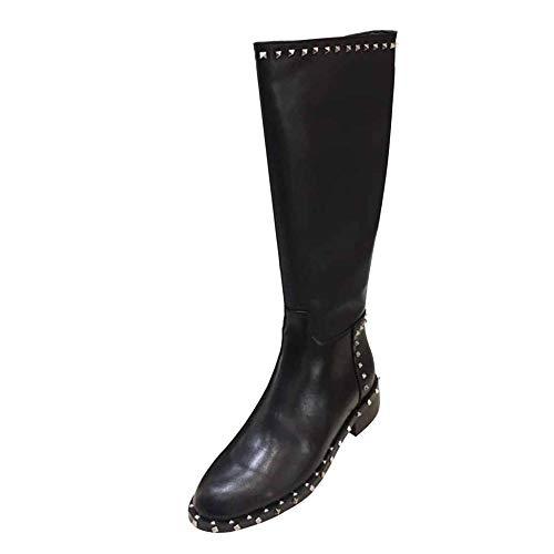 Miss Li Zapatos De Cuero De Otoño E Invierno Para Mujer Botas Con Remaches De Tacón Bajo Botas Chelsea...