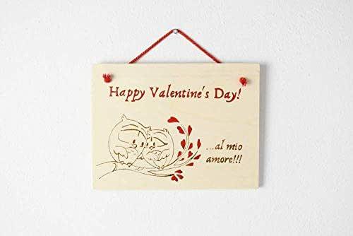 Targa San Valentino regalo personalizzato in legno disegno coppia gufetti