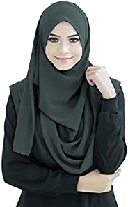 Justkartit Stitched 2 Loop Instant Hijab Scarf For Women (Olive Grey Color, 70 * 30 Inch)