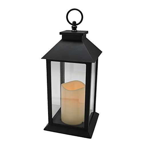 YAKii Hängende Glasscheiben-Laterne, tragbare LED-Kerzen-Licht, betrieben mit 3 AAA-Batterien für Garten, Hof, Innen und Dekoration, Schwarz