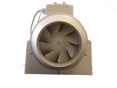 Inline Duct Hydroponic Extractor Fan with Temp & Speed Control from 100mm (4) to 200mm(8) (100mm (4)) by Airteck