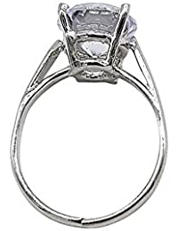 KumKum Jewels Silver-plated Cubic Zirconia Solitaire Stone Studded Ring For Women.