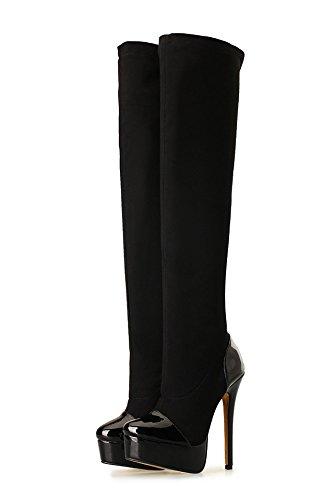 HeiSiMei Frauen High-heeled Stiefel / Stilettfersen / Over-the-Knie Stiefel / Dicke untere wasserdichte Plattform / Office & Karriere / Party & Abend / Hochzeit / Kleid / Super High Heel / Männer / Un 2-47