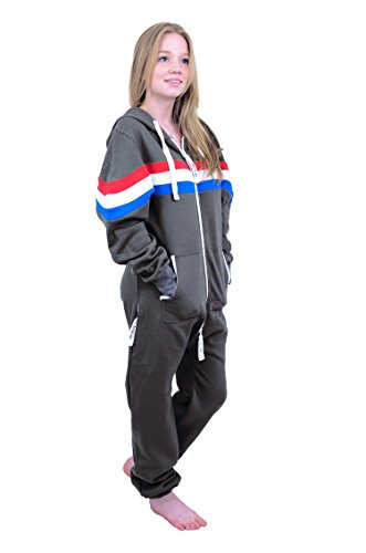 The Classic Unisex Onesie in Charcoal and Red Wht Roy Stripes - M - 3