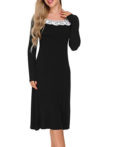 ADOME Damen Nachthemd Sleepwear Langarm A-Linie Casual Nachtkleid Nachtwäsche lang Spize Ausschnitt Herbst Unterkleid, Schwarz, EU 44(Herstellergröße:XXL)