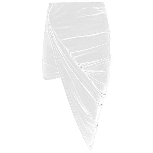 Janisramone Women Cut Out Ruched Jersey Side Split Drape Long midi Mini Skirt Maxi - Maxi Side Split