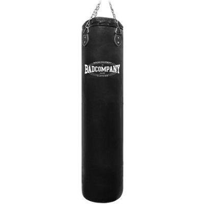 Bad Company Boxsack inkl. Heavy Duty Vierpunkt-Stahlkette I Vinyl Punching Bag, gefüllt I 180 x 35 cm - Schwarz -